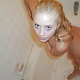 Puffy nipple queen Ember nude in the shower - image