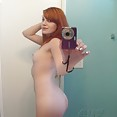 Puffy nipple red head self shot teen in the mirror - image