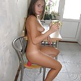 Nude and nubile teen gf silvia in the kitchen - image