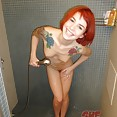 Gorgeous red headed emo teen amy in the shower - image