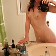 Cute self shot girl is eager to show her shaved snatch - image