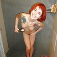 Alt girl amy frost plays naked in the shower - image