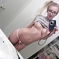 Perky blonde selfie girl doesnt take off her glasses - image