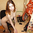 Cute amateur student Samanta nude in the dorm - image