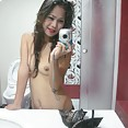 Gorgeous self shot asian teen mirror girl - image
