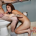 Getting a hot blow job in the toilet - image