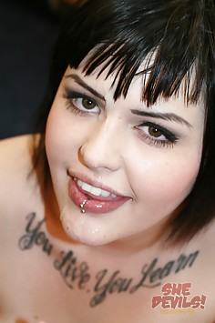 Chubby Emo girl gets a mouth full of fellatio
