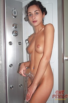 Skinny wild teen Dominika nude in the shower