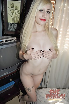 Blonde and cute Goth girl naked